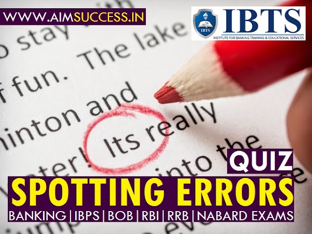 Spotting Errors for SBI PO/ Clerk Mains 2018: 16 July