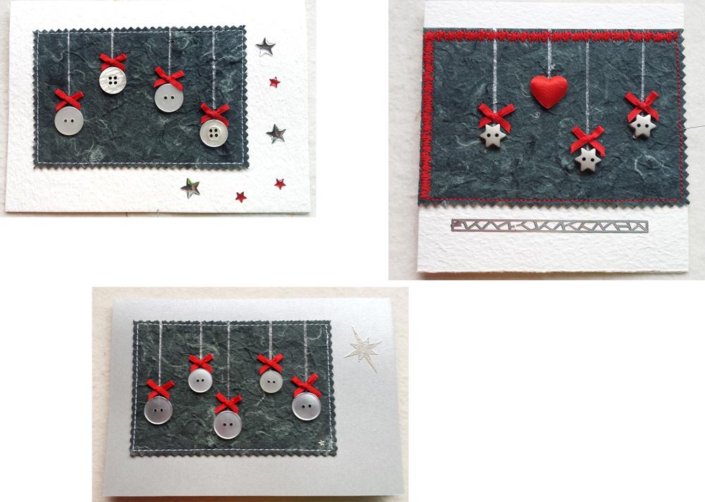 Weihnachtskarten Mit Knöpfen.Creabea Atelier Weihnachtskarten