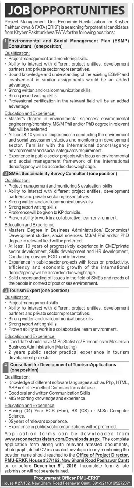 PMU Economic Revitalization KPK Jobs