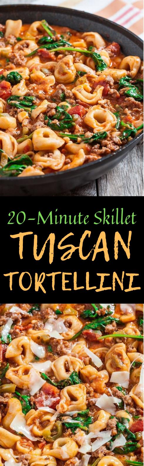 20-MINUTE SKILLET TUSCAN TORTELLINI #weeknightdinner #Tortellini