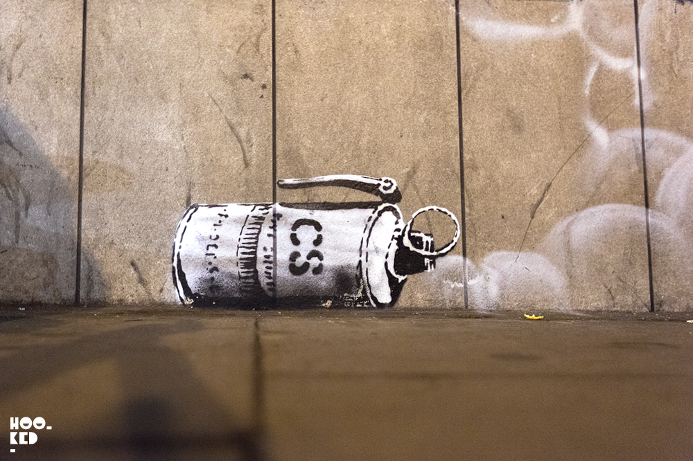 Banksy London Street Art Teargas canister