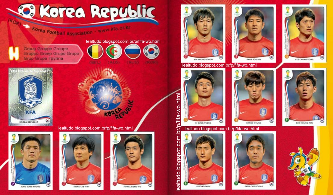 Album KOREA REPUBLIC - KOREA DO SUL Fifa World Cup BRAZIL 2014 LIVE COPA DO MUNDO Sticker Figurinha Download Lealtudo