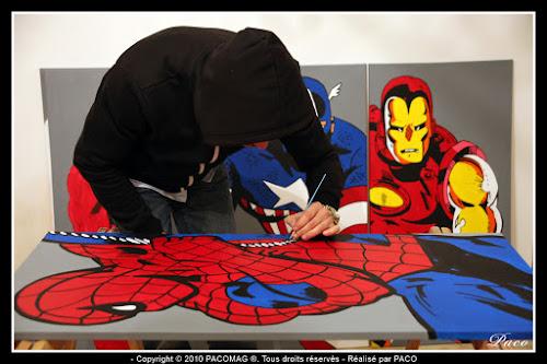 Mises en couleur du dessins de Spiderman sur toile Par Paco illustrateur graphiste, artiste peintre