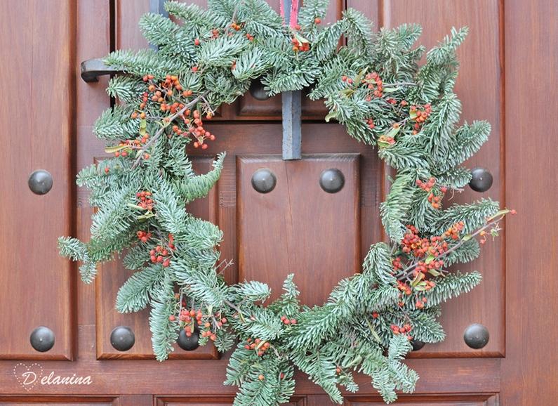 Corona de Navidad natural