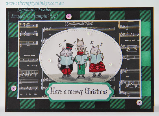 #cardmaking, #Christmascard, #stampinup, #catchristmascard, Cat Christmas Card, Santa Paws, Sponged DSP, #thecraftythinker, Stampin' Up Australia Demonstrator, Stephanie Fischer, Sydney NSW