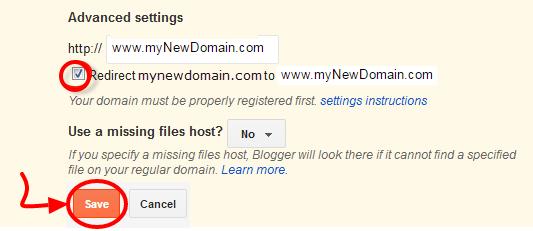 blogger custom domain final page