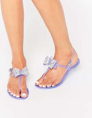 Miss KG daisy lilac Bow Flip Flops