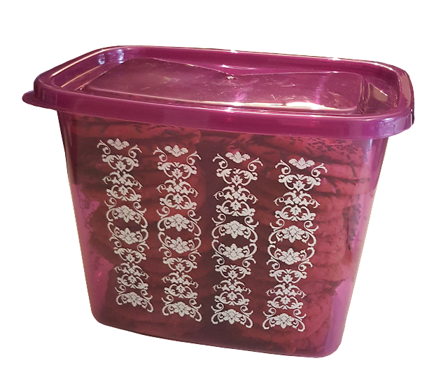 A large purple plastic container for kitchen storage.