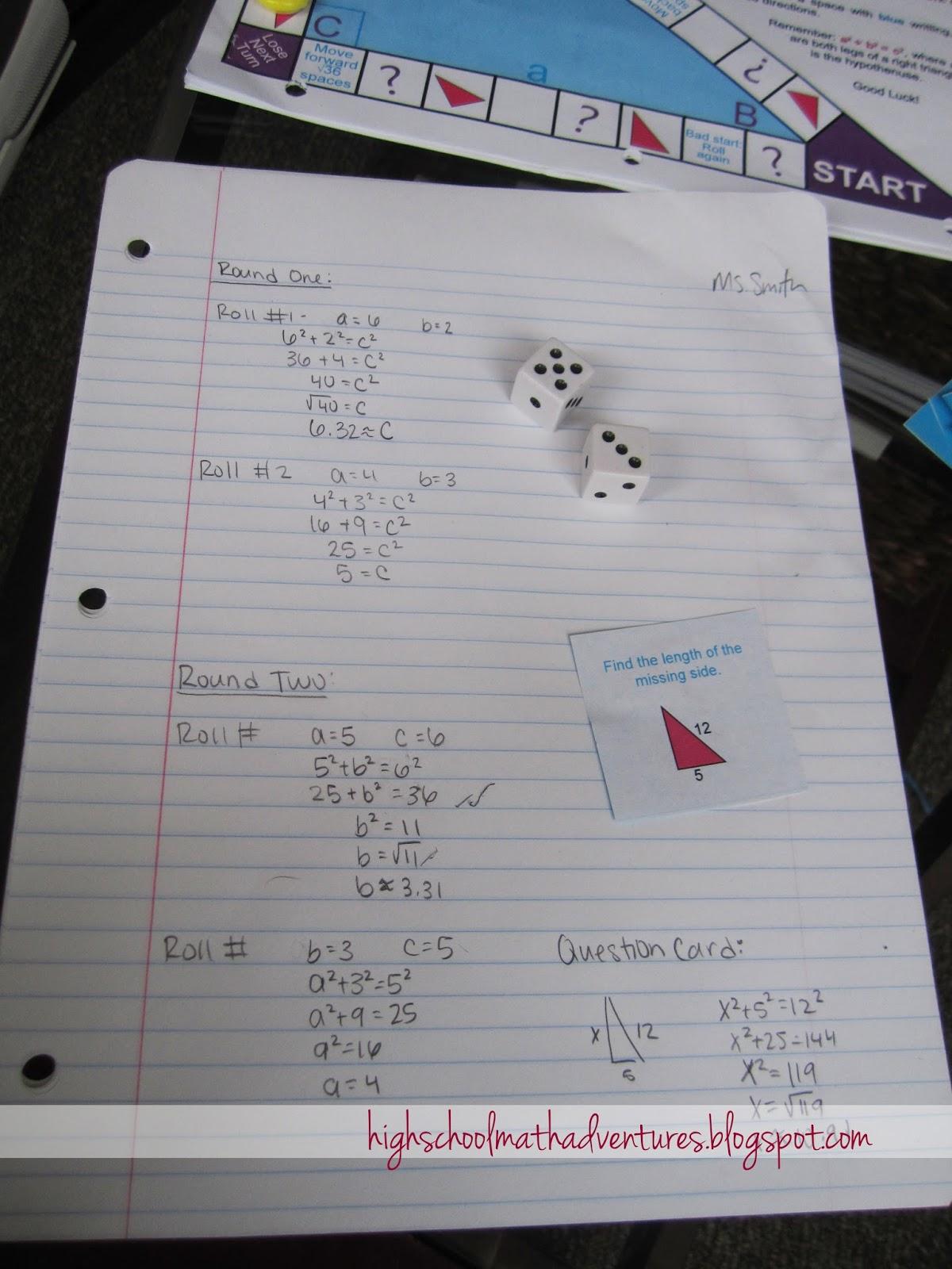 High School Math Adventures With Mrs B Pythagorean