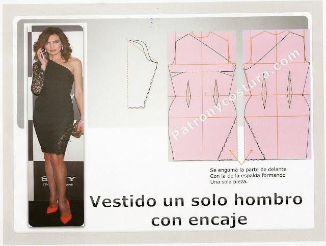 http://www.patronycostura.com/vestido con un solo hombro y aplicaciones de encaje-tema 89