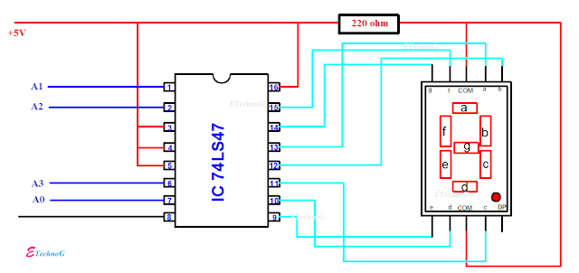 BCD to Seven Segment Display Decoder Circuit using IC 7447