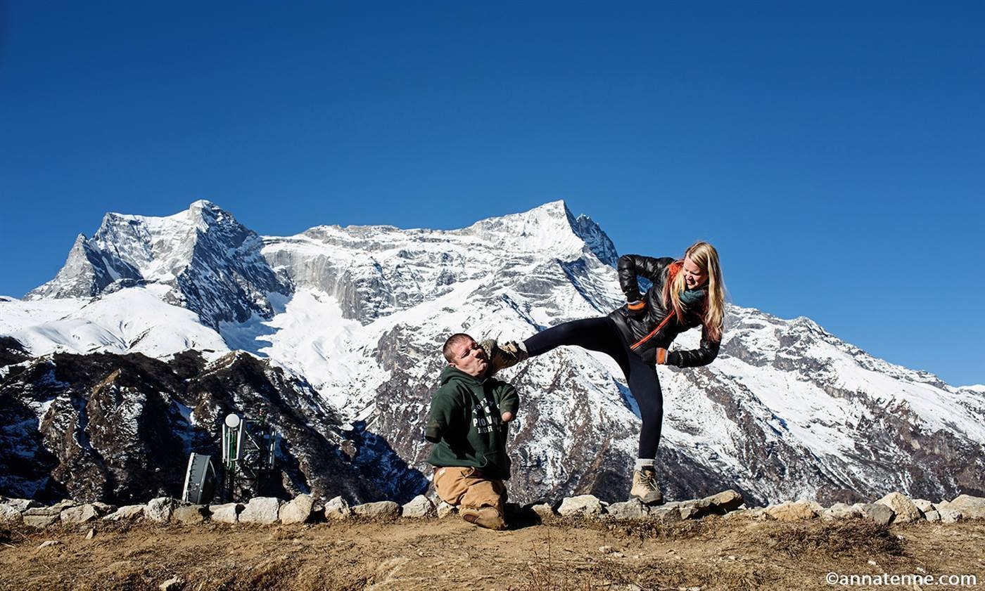 The pair traveled through Thailand, Cambodia, and Nepal, even making it to the base of Mount Everest. - He's Traveling The World Without Limbs, And It's Inspiration Overload.