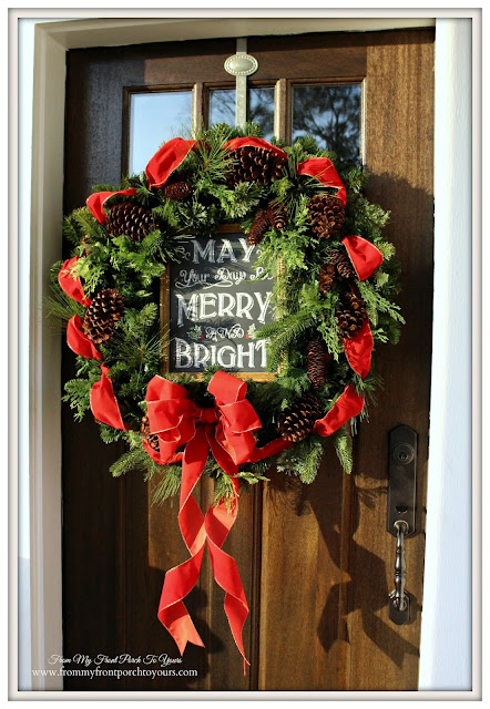 Farmhouse Christmas Porch-Christmas Wreath-Chalkboard Sign-From My Front Porch To Yours