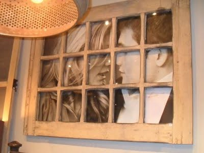 ... idea of taking old window frames and making them into picture frames