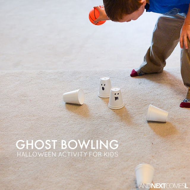 Ghost bowling Halloween activity for kids from And Next Comes L