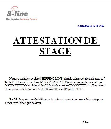 Exemples de modèle d'attestation de stage en word doc ...