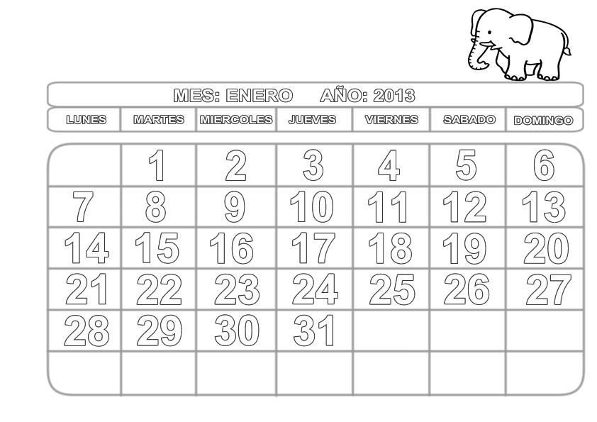 Recursos para el aula de lengua: Calendario para imprimir y colorear