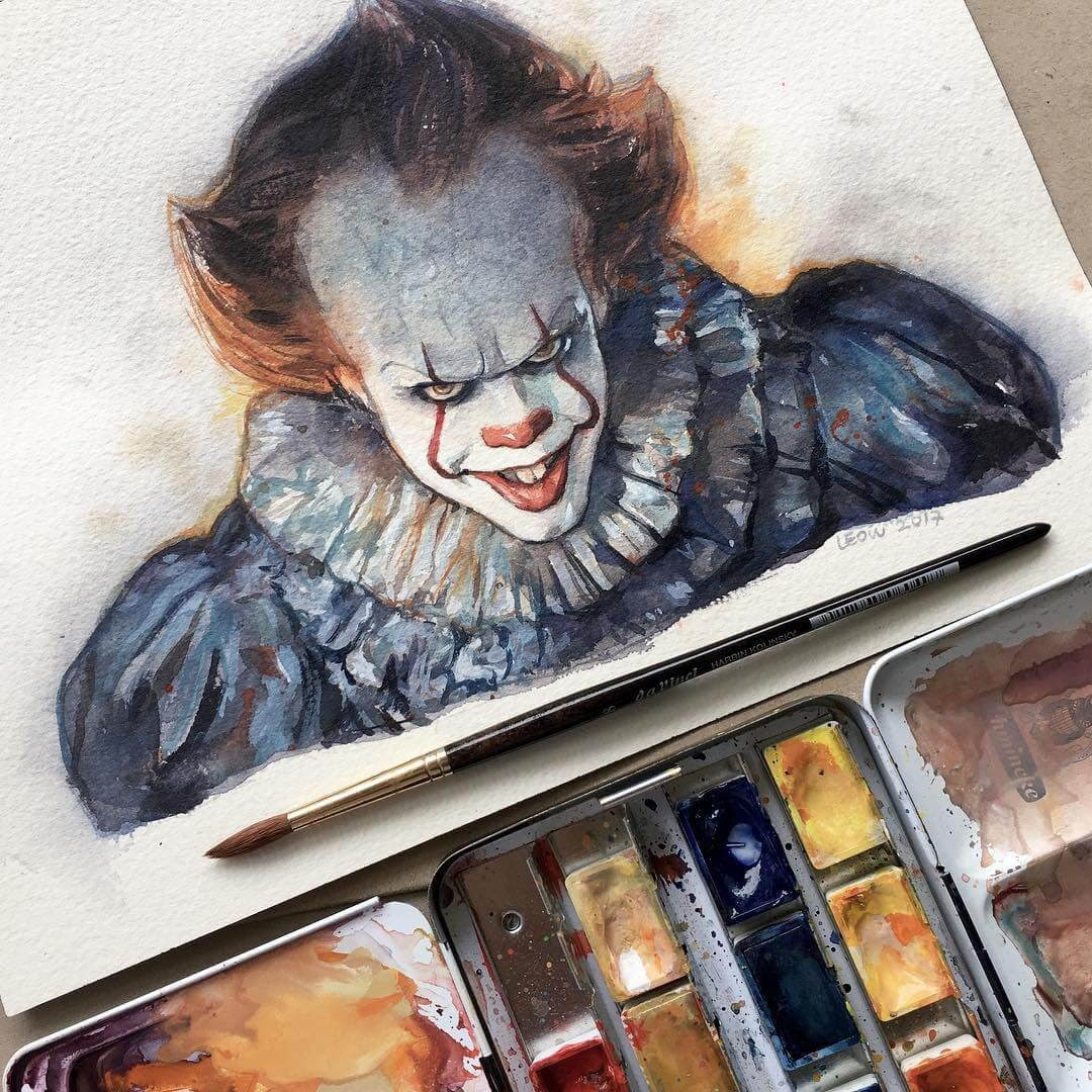 09-Pennywise-It-Leow-Fantastic-Mix-of-Watercolor-Paintings-www-designstack-co