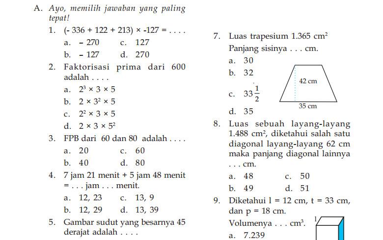 Soal UKK Matematika Kelas 5 SD Tahun 2016 Terbaru