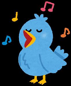歌う鳥のカップルのイラスト(ブルー)
