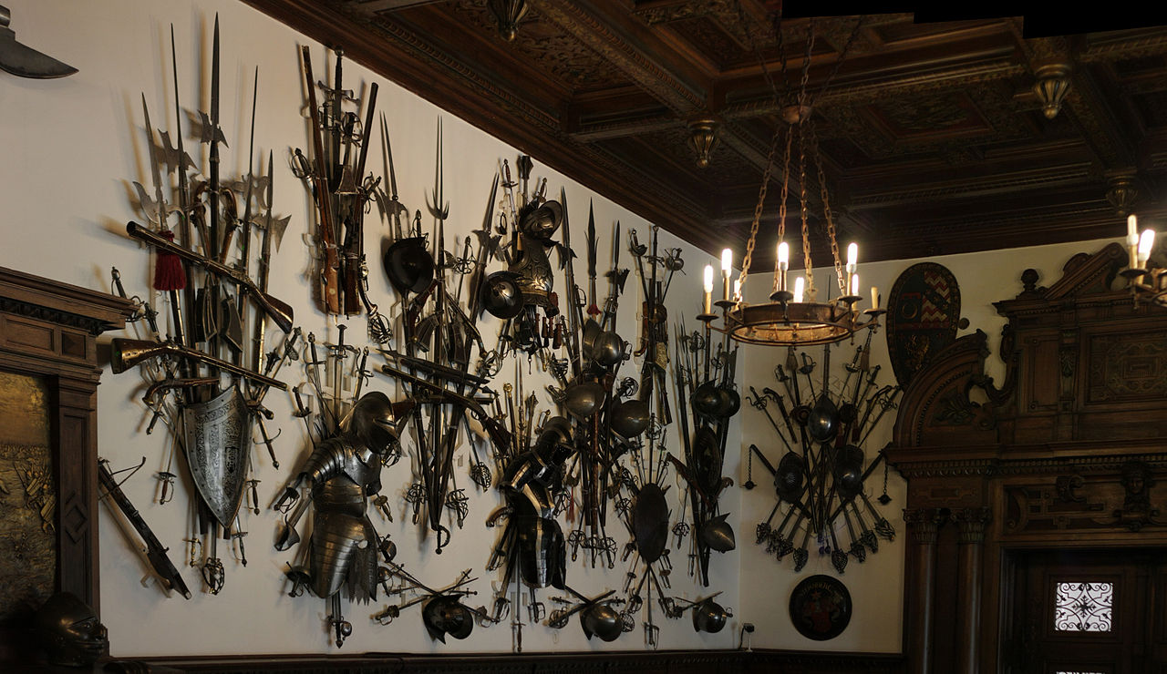 The astounding 1,400-piece armory collection inside the castle. Photo: WikiMedia.org.