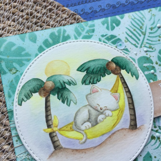 Find Your Paradise Card by July Guest Designer Milene Tiberius | Aloha Newton Stamp Set and Tropical Leaves Stencil by Newton's Nook Designs #newtonsnook #handmade