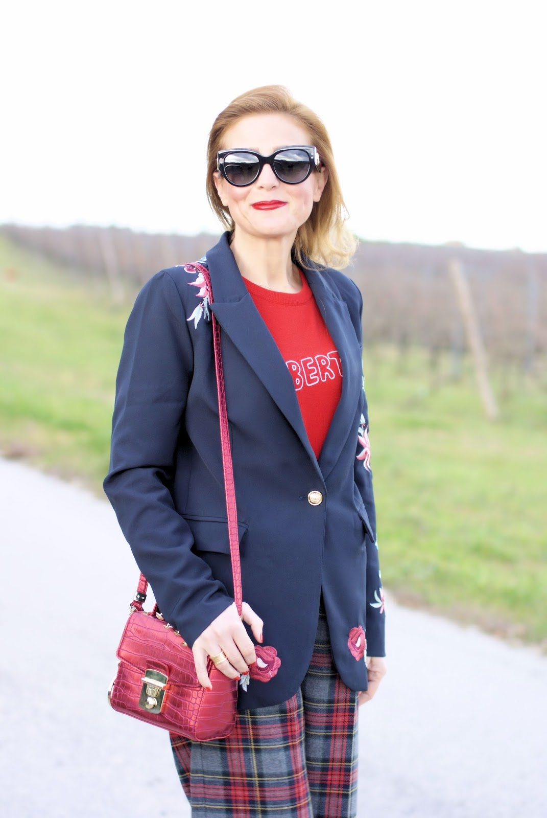 Zaful embroidered blazer and plaid pants on Fashion and Cookies fashion blog, fashion blogger style