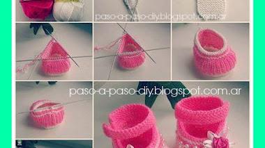 Zapatitos tejidos - Crochet y dos agujas