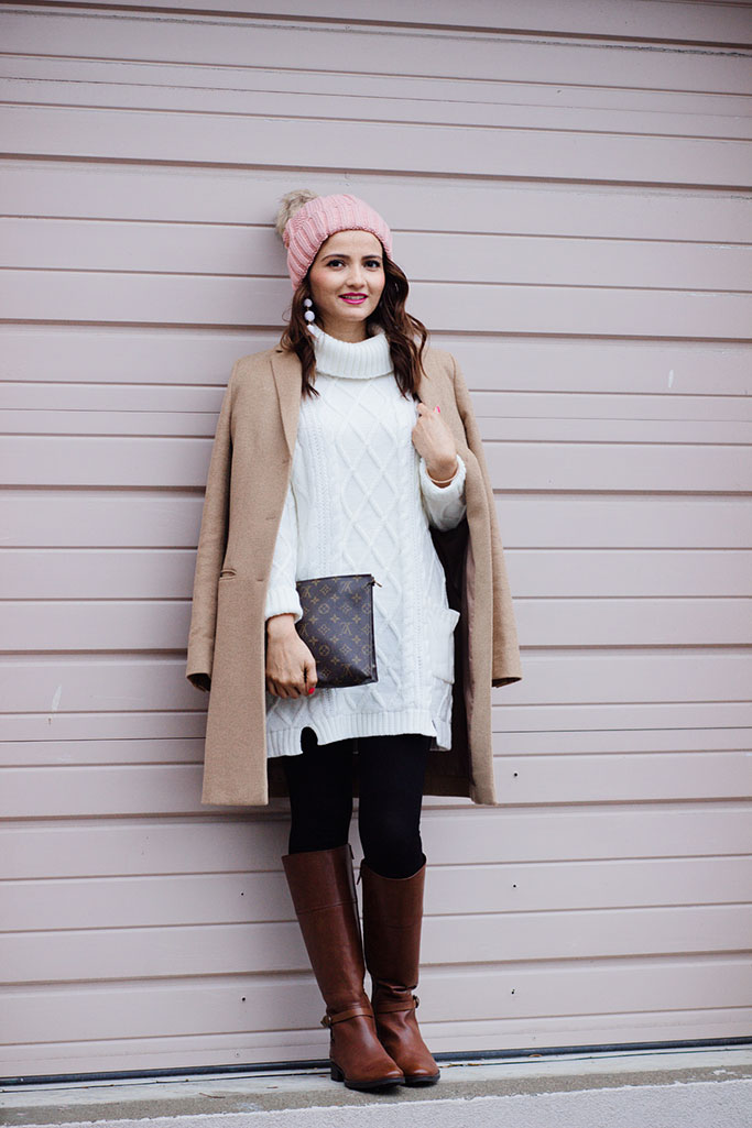Pink-Pom-Pom-Beanie-LV-Toiletry-Clutch-Poche-Toilette-26-Geox-Riding-Boots-Camel-Coat-Blogger-Outfit
