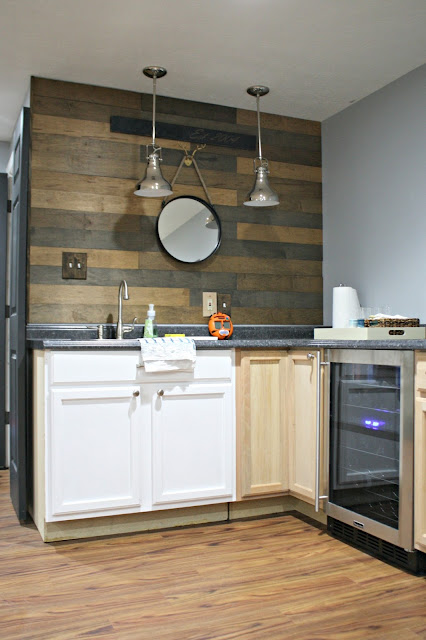 basement kitchenette with wine fridge