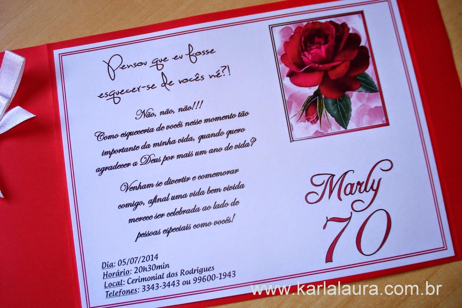 Mensagens De Aniversario 70 Anos: Convite De Aniversário Adulto