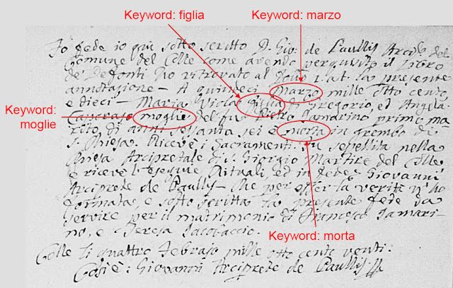 A standardized but formless Italian document.