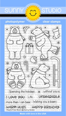 Sunny Studio Stamps: Playful Polar Bears Winter 4x6 Clear Photopolymer Stamp Set