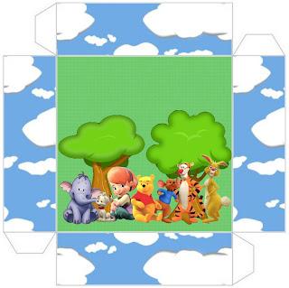 cajita-invitación de Winnie de Pooh y sus amigos para imprimir gratis