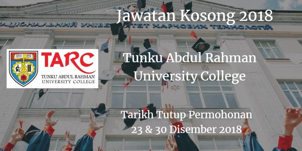 Jawatan Kosong TARUC 23 & 30 Disember 2018