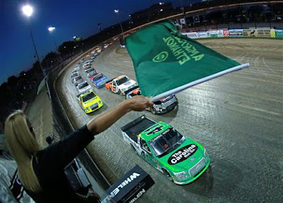 Ben Rhodes, driver of the #41 The Carolina Nut Co. Ford, takes the green flag to start the NASCAR Camping World Truck Series Eldora Dirt Derby at Eldora Speedway on July 18, 2018 in Rossburg, Ohio.