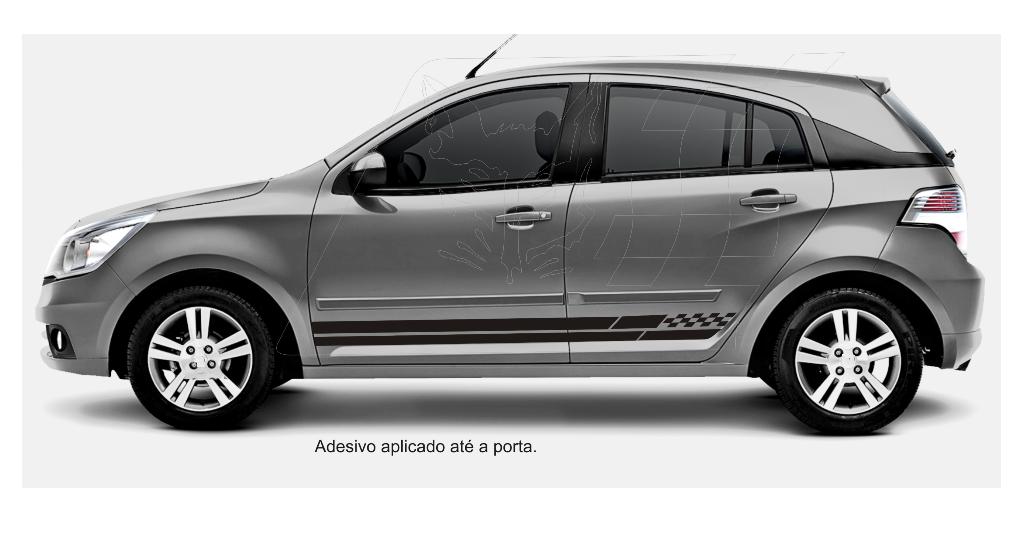 Adesivos esportivos Tuning para carros GM Agile LT LTZ e Cobalt aplicado  até a porta 1f4233bbc244c
