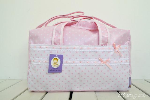 bolsa hospital bebé estrellas rosa blanco