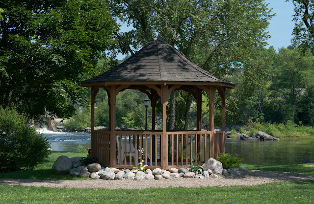The wooden gazebo at the park in Kinmount.