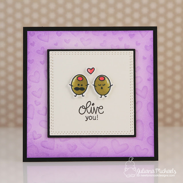 Olive You Mini Valentine Card by Juliana Michaels featuring Newton's Nook Designs Love Bites Stamp Set and Tumbling Hearts Stencil