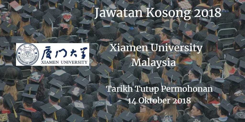 Jawatan Kosong Xiamen University Malaysia 14 Oktober 2018