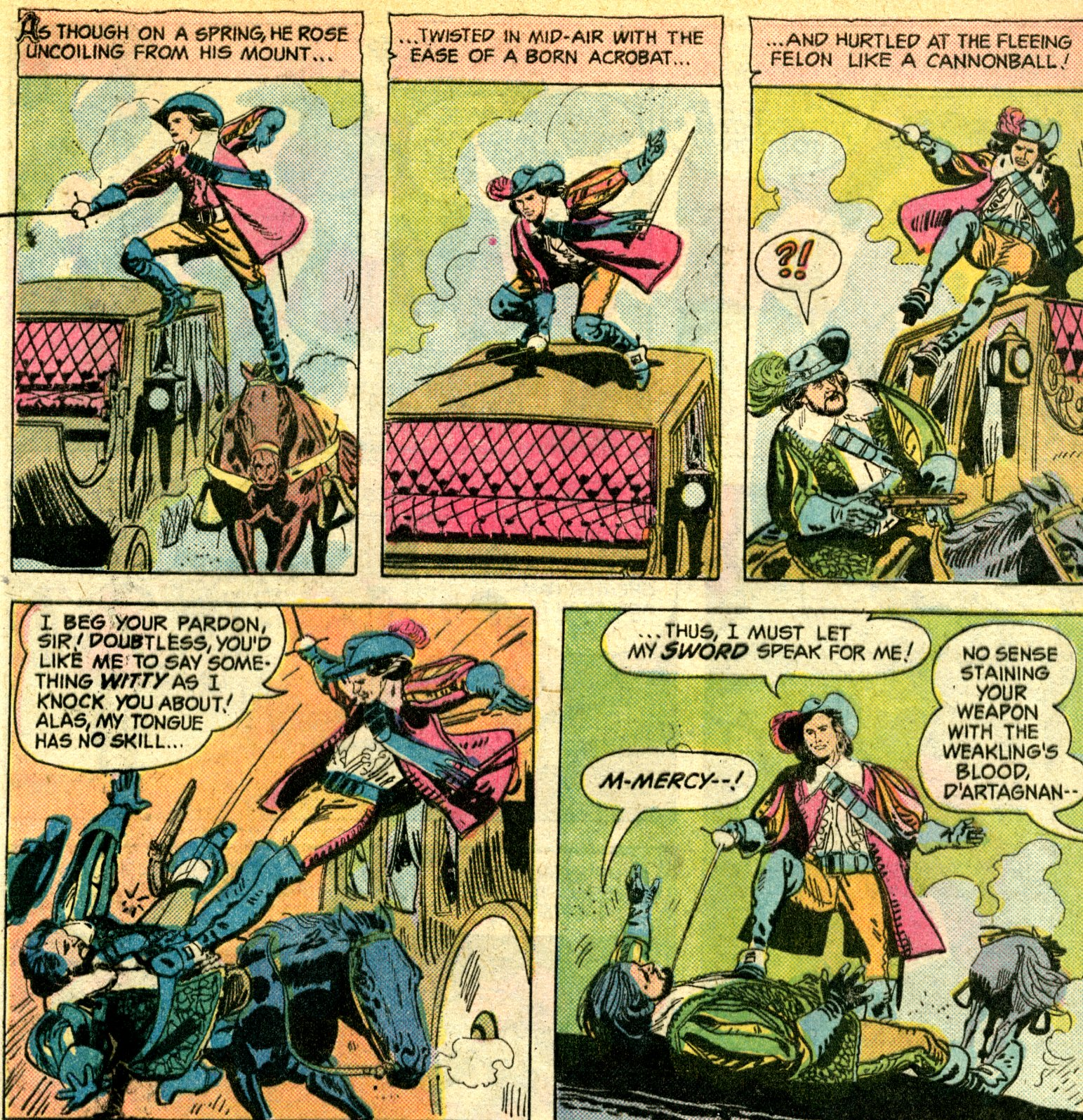 The First Of The Musketeer Stories Appeared In Dc Special #22, With Art By  Jorge Moliterni, Was Written By Denny O'neil In It, The Musketeers Are  Tasked