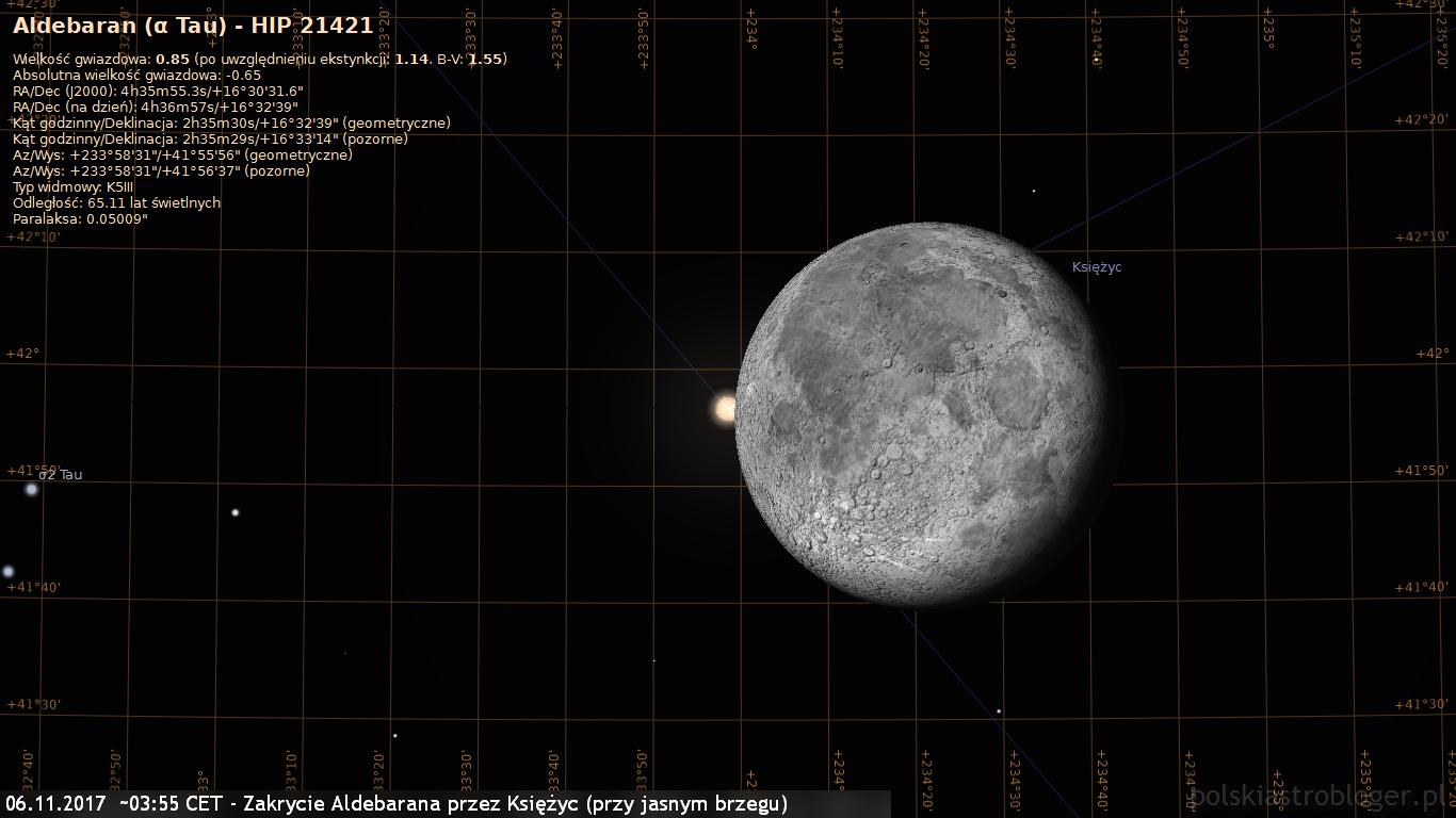 06.11.2017  około 03:55 CET - Zakrycie Aldebarana przez Księżyc - przy jasnym brzegu