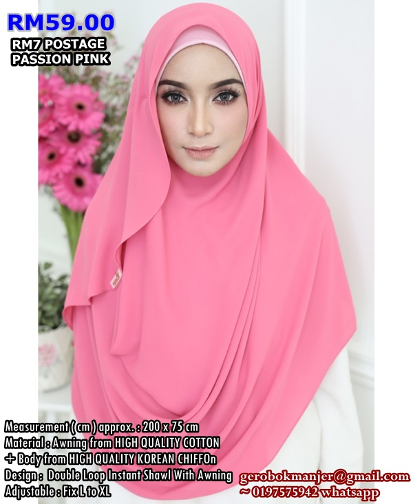 INSTANT SHAWL CHIFFON 2 LOOP ROSSY FLARE WITH AWNING
