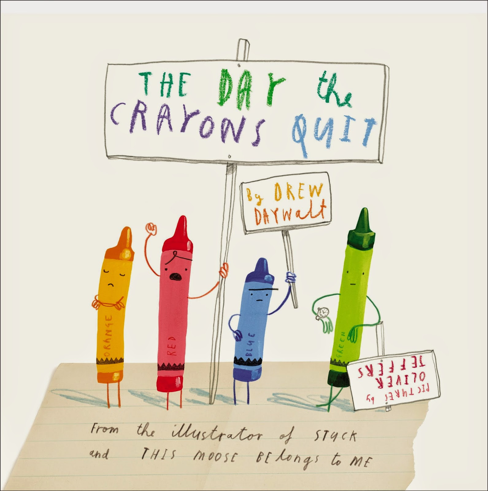 The Day The Crayons Quit by Drew Daywalt, part of book review list about colors and rainbows