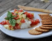 Creamy Ricotta with Tomato-Cucumber-Corn Salad