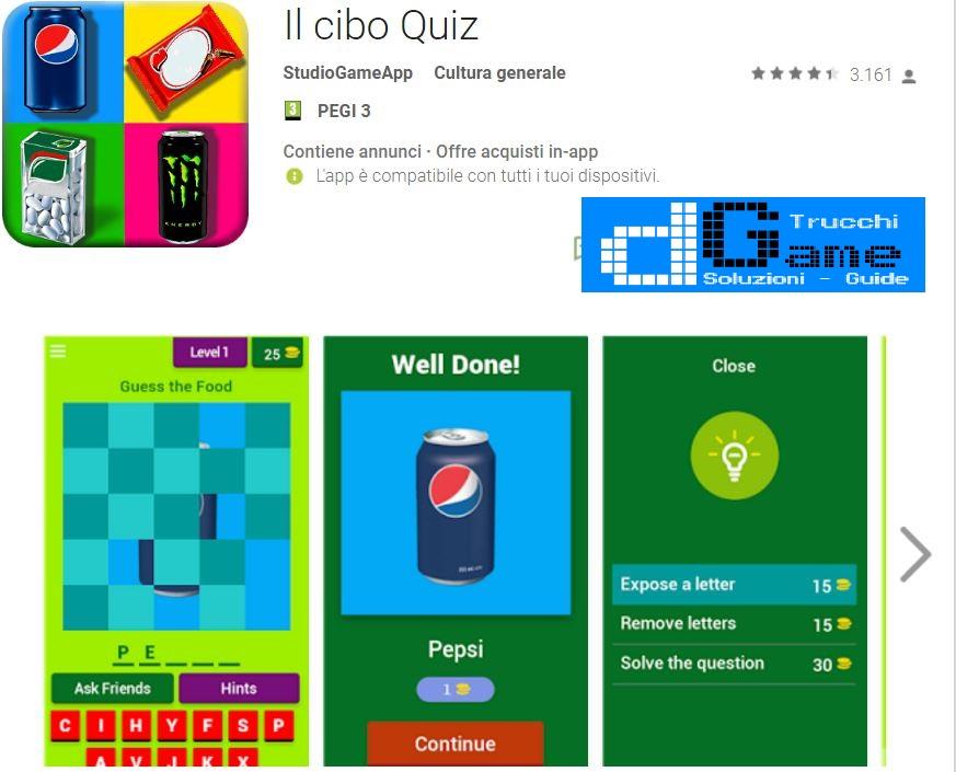 Soluzioni Il cibo Quiz | Screenshot Livelli con Risposte