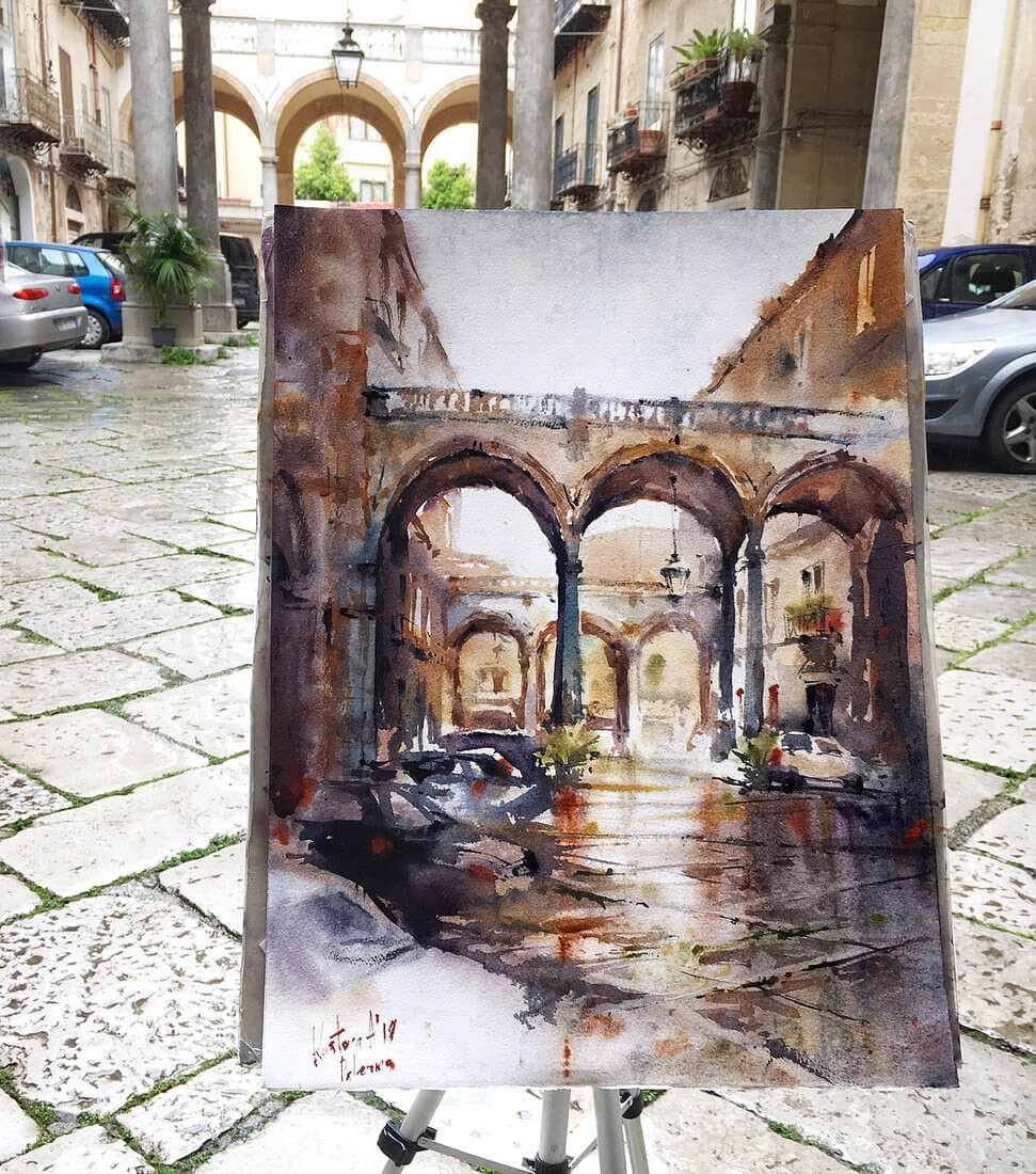 11-Palermo-Sicily-Anastasia-Kústova-Architectural-Watercolor-Paintings-En-Plein-Air-www-designstack-co