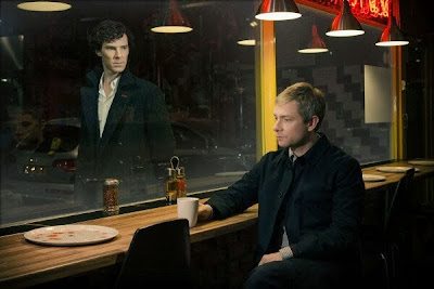 Benedict Cumberbatch and Martin Freeman as Sherlock Holmes and John Watson in BBC Sherlock Season 3