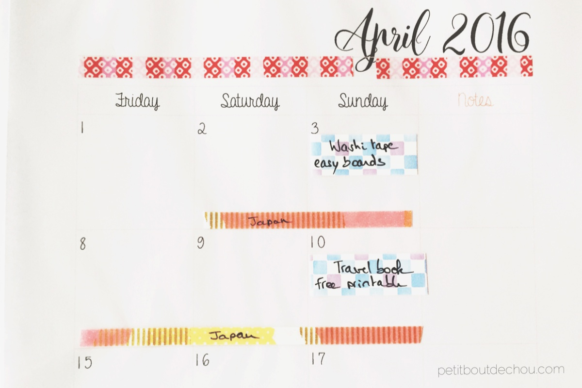 diy washi tape monthly planner petit bout de chou